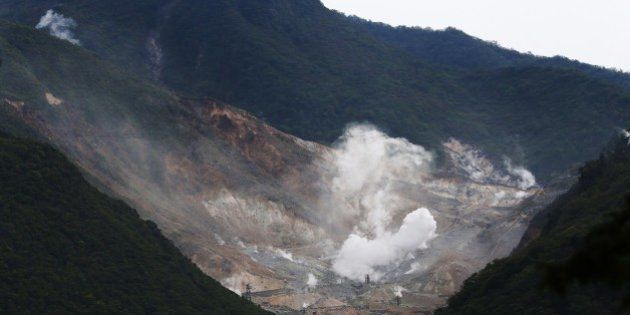 Steam rises from the rocky mountain slopes near the hot springs resort of Hakone, Kanagawa prefecture...