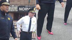 男性の警察署長が真っ赤なハイヒールを履いた。その目的は......?(画像)