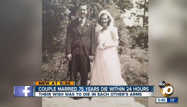 75年間連れ添った、幼なじみの夫婦。夢のような最期を迎える(画像・動画)