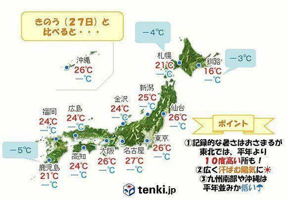 28日も真夏日に? 7月並みの暑さが東北を中心に続く