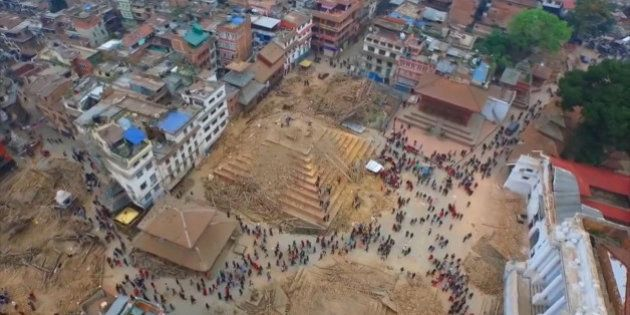 Video taken from a drone Saturday April 25 2015 shows devastation in the Nepalese capital Kathmandu,...