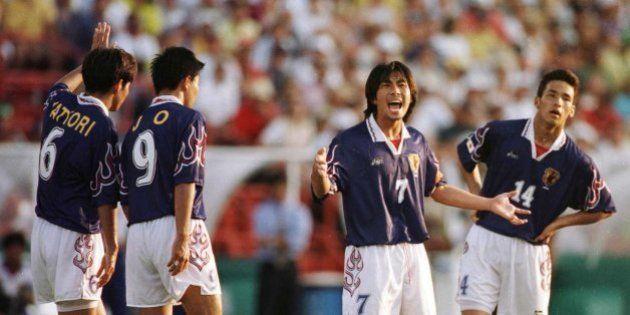 21 Jul 1996: (L to R) Toshihiro Hattori, Shoji Jo, team captain Masakiyo Maezono and Hidetoshi Nakata...
