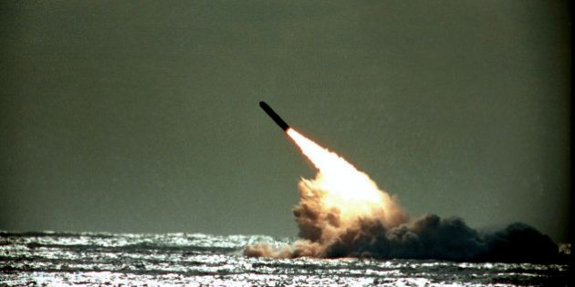 FILE - The Dec. 4, 1989 file photo shows U.S. Navy launching a Trident II, D-5 missile from the submerged...