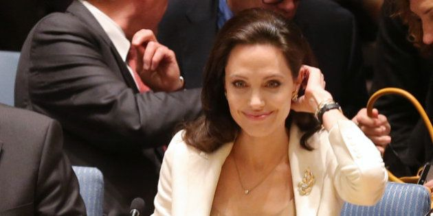 NEW YORK, NY - APRIL 24: Actress/activist Angelina Jolie attends a United Nations Security Council Meeting...
