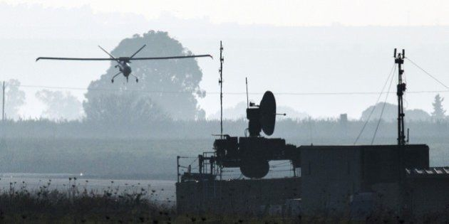 A picture shows an Israeli army UAV landing in an airfield, in the Israeli-annexed Golan Heights, on...