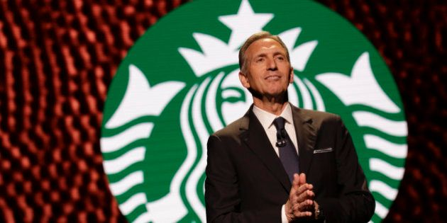 Starbucks Chairman and CEO Howard Schultz speaks at the Annual Meeting of Shareholders in Seattle, Washington...