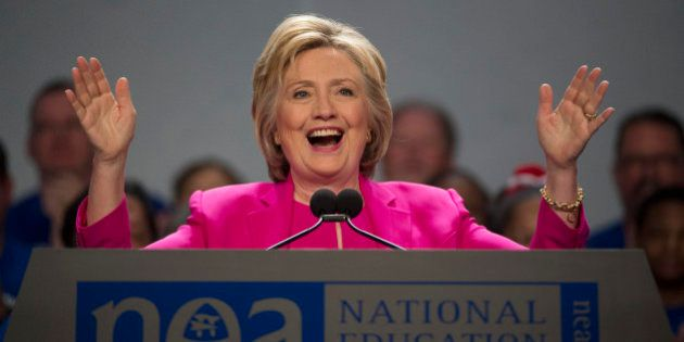 Democratic presidential candidate Hillary Clinton arrives to address the The National Education Association...