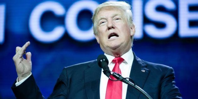Republican presidential candidate Donald Trump addresses the audience at the 2016 Western Conservative...