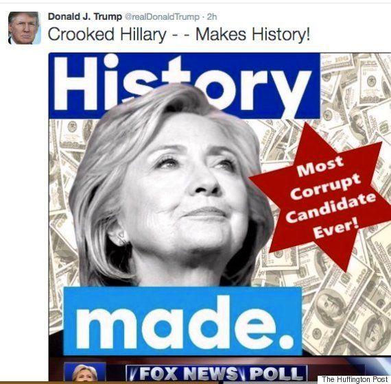 ドナルド・トランプ氏、ヒラリー・クリントン氏に露骨な攻撃開始、しかし反ユダヤ的だと炎上(画像)