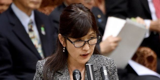 Japanese Defence Minister Tomomi Inada answers questions at a upper house committe of the National Diet...