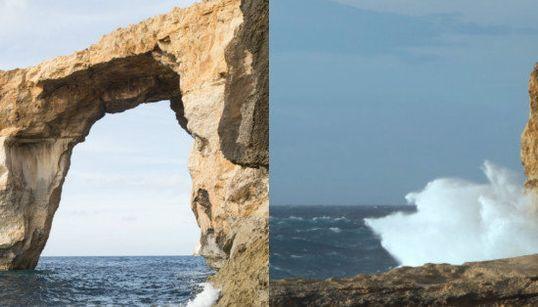 マルタの観光名所『アズール・ウィンドウ』崩壊 首相「胸が張り裂けそう」(比較画像)