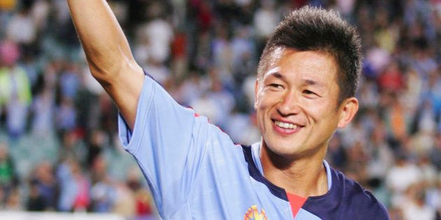 SYDNEY, AUSTRALIA - DECEMBER 03: Kazuyoshi Miura acknowledges the crowd after his last game for Sydney...