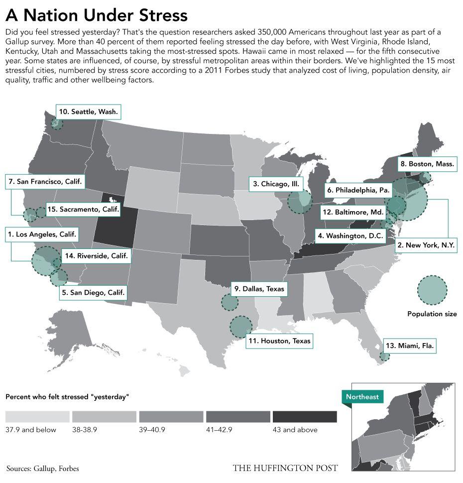 アメリカ各地の「ストレス度」がわかる地図