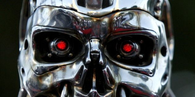 A robot from the movie is on display for the premier of the motion picture Terminator