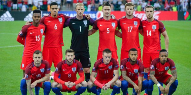 England team poses prior to the Euro 2016 Group B soccer match between Slovakia and England at the Geoffroy...