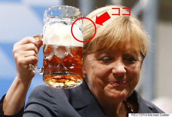 ビールジョッキ、よく見たら取っ手の反対側にロゴ なぜ?