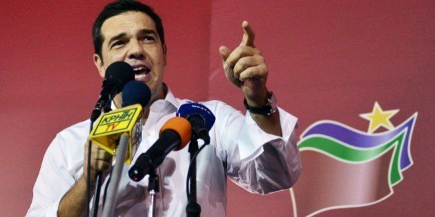 Syriza leader Alexis Tsipras speaks to supporters after his party's victory in the Greek general elections...