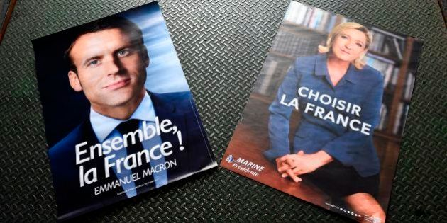 Electoral posters of French presidential election candidate for the En Marche ! movement Emmanuel Macron...
