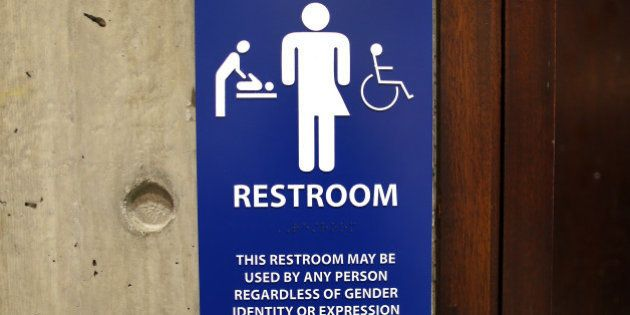 BOSTON, MA - MAY 25: The sign for the gender-neutral bathrooms on the 5th floor of Boston City Hall across...