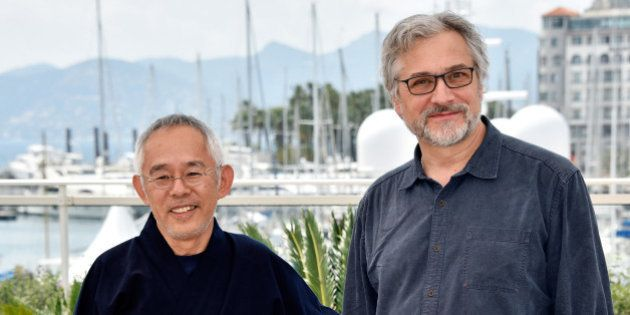 CANNES, FRANCE - MAY 18: Producer Toshio Suzuki and director Michael Dudok de Wit attend the 'The Red...