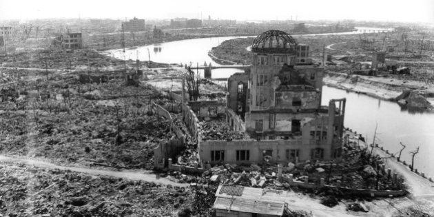 The gutted Hiroshima Prefectural Industrial Promotion Hall, currently known as Atomic Bomb Dome or A-Bomb...