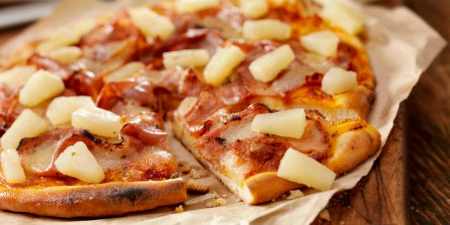 'Authentic Italian, Hand Made Ham and Pineapple Pizza with Fresh Mozzarella - Photographed on a Hasselblad...