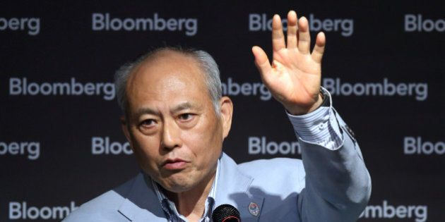 Yoichi Masuzoe, governor of Tokyo, speaks during a seminar hosted by Bloomberg L.P. in Tokyo, Japan,...
