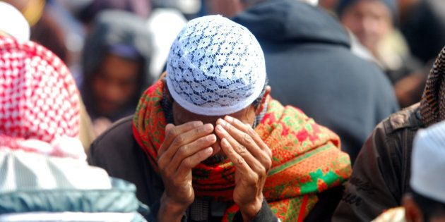 DHAKA, BANGLADESH - 2015/01/11: Muslim devotees participate in the last day Biswa Ijtema called 'Akheri...