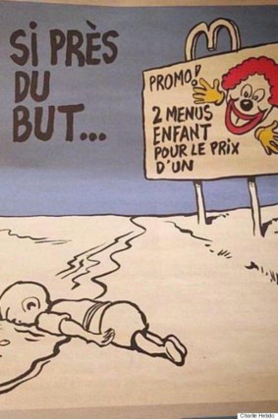 シャルリー・エブドがシリア難民の溺死幼児の風刺画 表現の自由の議論再燃