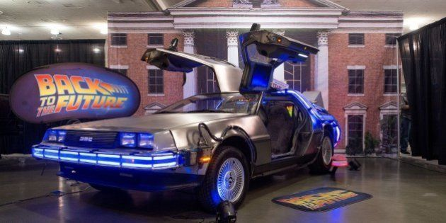 A replica of the DeLorean car from 'Back to the Future' is seen on display during the Silicon Valley...