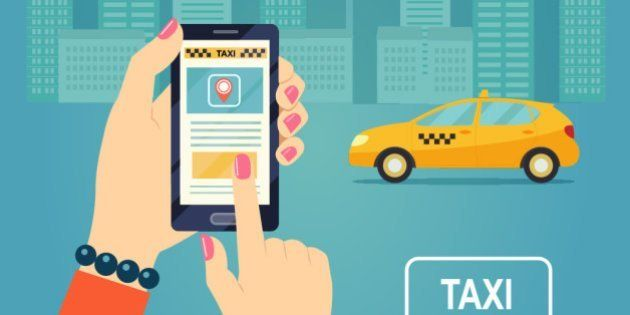 Taxi service. Smartphone and touchscreen, city skyscrapers. Vector flat