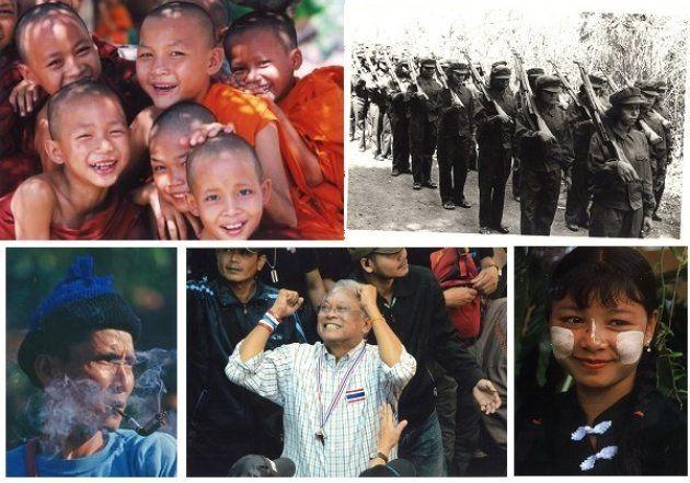 左上から時計回りに、タイの子ども僧▽ポル・ポト派の女性兵士▽「タナカ」と呼ばれる白粉を塗るミャンマーの女性▽反タクシン派のステープ元副首相▽少数民族の男(いずれも瀬戸正夫さん撮影)