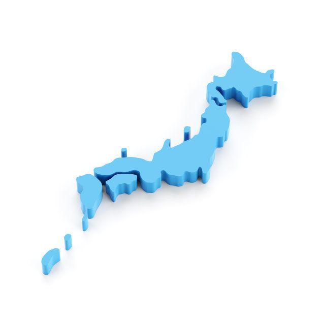 Accurate 3d render of Japan