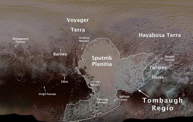 IAUが命名した冥王星の地形。ハート型の右上に「はやぶさ大地(Hayabusa