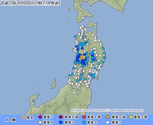 【地震情報】秋田県大仙市で震度5強