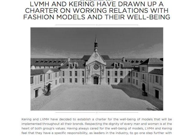 LVMHとの共同憲章を伝えるケリングのウェブサイト。