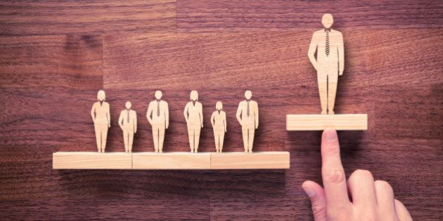 Successful team leader (manager, CEO, market leader) and another business leading concepts. Standing...