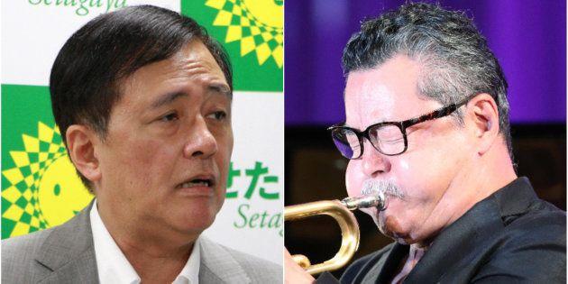 保坂展人・世田谷区長(左)と日野皓正氏