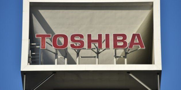 The logo of Japan's Toshiba Corp. is displayed at the company's headquarters in Tokyo on January 27,...