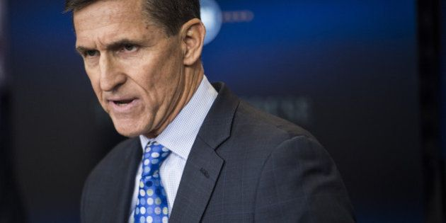 WASHINGTON, DC - FEBRUARY 1: National Security Adviser Michael Flynn speaks in the James S. Brady Press...