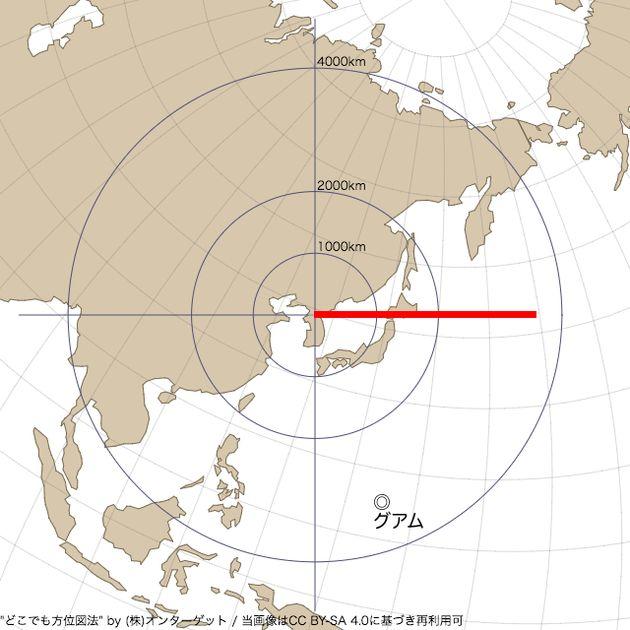 北朝鮮のミサイル発射、正距方位図法で見るとこうなる