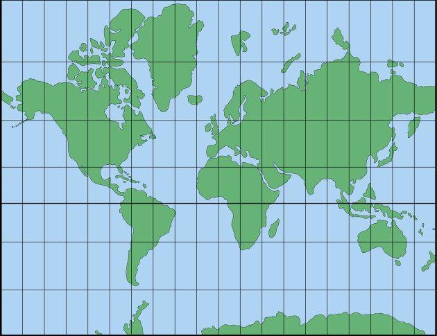 メルトカル図法の世界地図