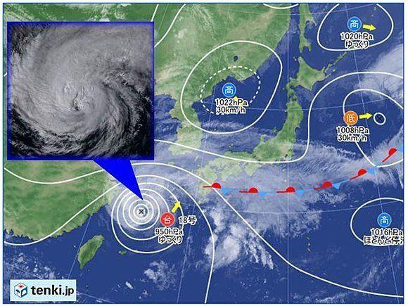 台風18号、非常に強い勢力で接近中 3連休は交通機関に影響する可能性も