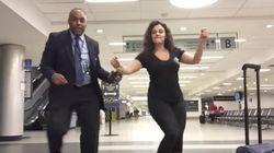 深夜の空港でダンスパーティした女性がすごい