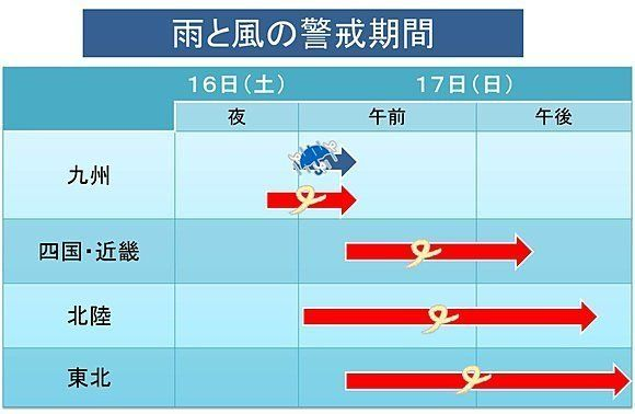 雨と風の警戒期間 熊本は夜間にピーク