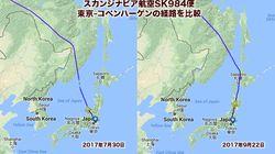 北朝鮮のミサイル警戒、航空会社のルート変更相次ぐ 地図で見ると…