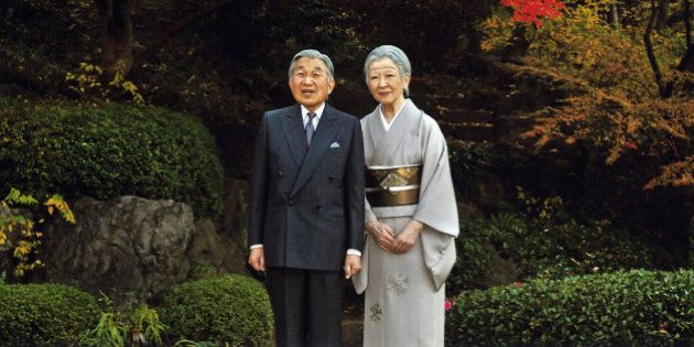 This Dec. 9, 2015 photo released by Imperial Household Agency of Japan shows Japanese Emperor Akihito,...