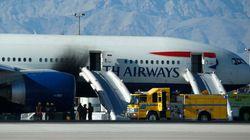 ラスベガスの空港で旅客機から出火、7人けが 激しく黒煙あがる(画像)