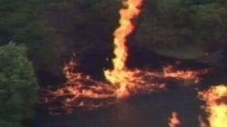 ジム・ビーム工場に落ちた雷、ウイスキーが炎の竜巻に(動画)