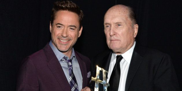 HOLLYWOOD, CA - NOVEMBER 14: Actors Robert Downey Jr. (L) and Robert Duvall pose with the Hollywood Supporting...